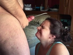 Cum Fly's Everywhere After Wife Sucks Off Husband
