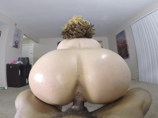 Sexy rides reverse cowgirl on bbc in the...