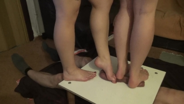 two pairs of merciless legs trample cock and balls2 - CBT trampling