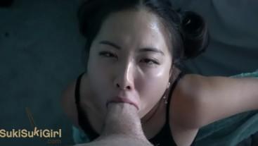 upside down THROATFUCK for Asian @SukiSukiGirl