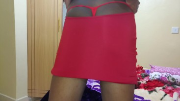 My Short Skirt Exposed My Red Thong