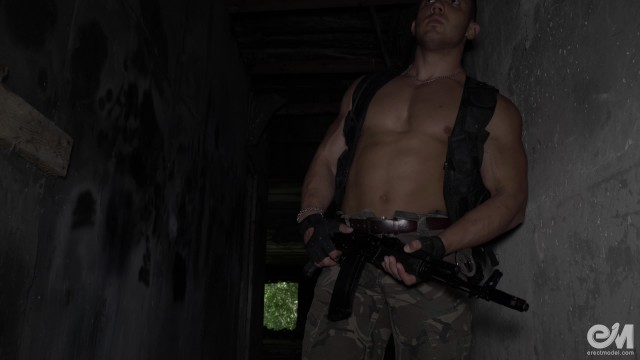Fuselier gay video - Hot military guy masturbating and cumming after patrol in ultra hd video