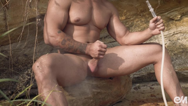 Erotic male gay video - Gay smoking fetish 4k video featuring muscle nude man