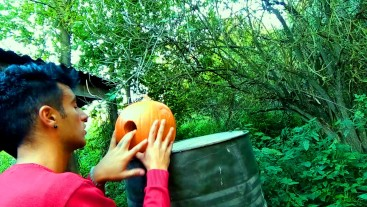 Twink is fucking a pumpkin and eating own creampie in the garden