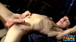 Inked straighty tough guy Blinx masturbating solo hard