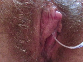 Hairy big clit pussy dripping wet close up orgasm