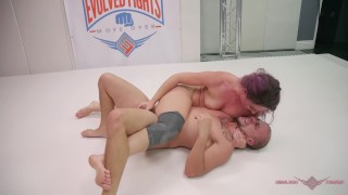 MILF fucks her husband after she wins Mixed wrestling fight Mia tits