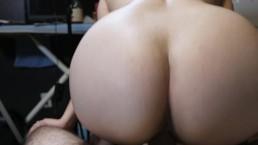 Slut sucks cock then gets cum all over her ass