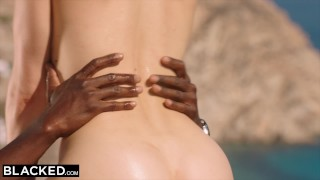 BLACKED Blonde tourist fucked in the ass by black local Missionary hair