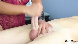 MissFluo-Mistress gives Edging Handjob and ending throbbing oral creampie