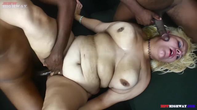 Jenna Foxx BBW takes two big black cocks in her BBWhighway.com debut 14