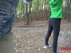 Petite Skinny Teen in Yoga Pants Suck a Stranger in Public role play. 4k