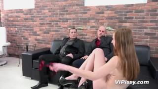 Piss Drinking - Threesome piss fuck for British redhead
