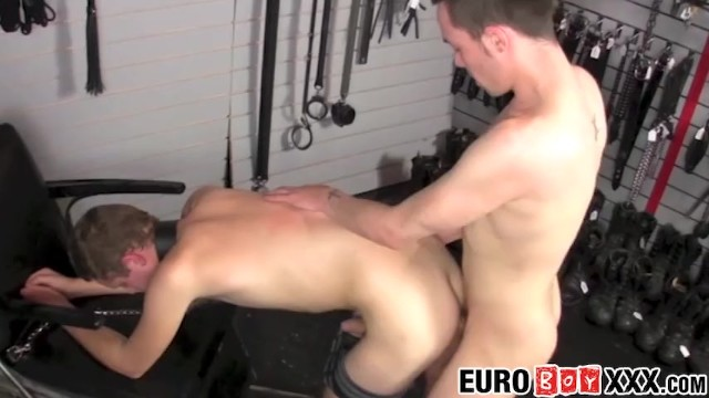 Submissive twink slave takes it from behind hard and deep