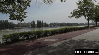Cute jogger almost caught masturbating in a public park Tattoos bent