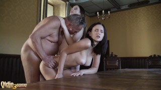 Old man fucks s in same time incredible sex with cum spitting and suck