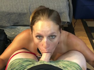 Milf whore leashed up sucking cock on knees...