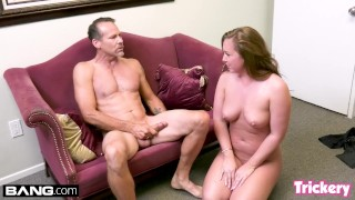 Maddy O'Reilly fucks the therapist while her husband waits Brunette big