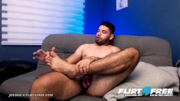 Jerome V on Flirt4Free - Bearded Latino Hunk Eats Cum Off His Own Feet