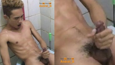 Asian Young Boy Taking a Bath and Jerking Off with Cum