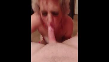 Sexy blonde MILF in red lingerie sucks big dick