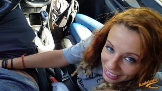 Wet anal orgasm with my girlfriend in the rental car