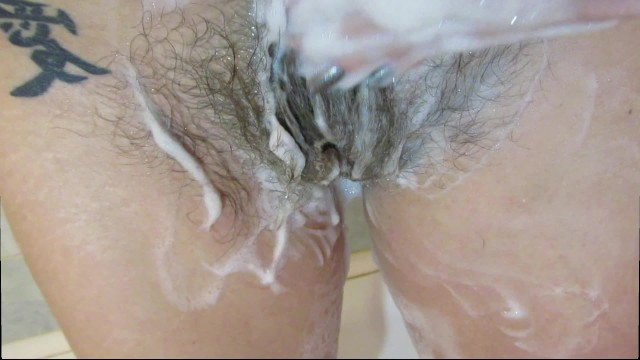 washing my hairy pussy and playing with my pubic hair 8