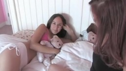 Petite amateur lesbians fucking each other in bed