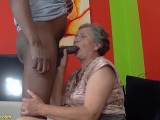 80 granny first interracial...