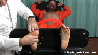 Restrained Chance LeChance cosplay during tickling session