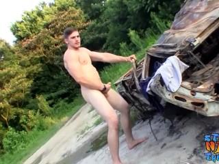 Jock thug Elijah Knight strokes big dick on roadside