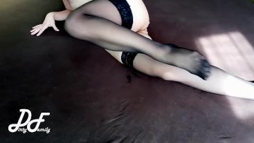 Syntribate, crossed legs orgasm in black stockings ~DirtyFamily~