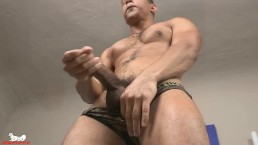 Zario kneels over the sofa & starts probing his hole