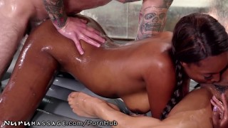 NuruMassage Daddy Gets Teen Masseuse Kira Noir & Ebony Bestie Girl girlfriendsfilms