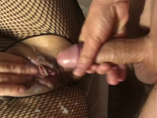 Babe in fishnet gets deep fuck