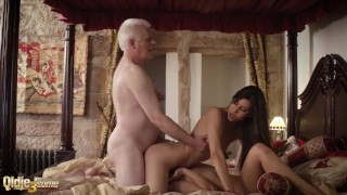 Teenager and her girlfriend get hardcore fucked by old man in hotel room