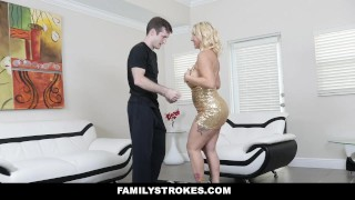 FamilyStrokes - Sexy Stepmom Teaches Stepson To Dance And Fuck Tits son