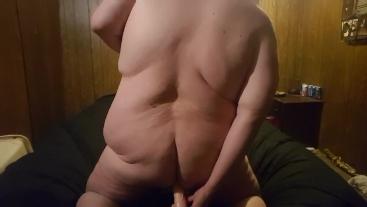 Fat gay chubby Jay dragon fucks dildo then cums