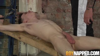 Candle waxed twink slave receives blowjob from his master Special booty