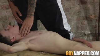Candle waxed twink slave receives blowjob from his master Hung amateur