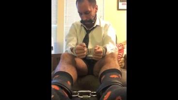 Locked Horny Officeboy Cuffed in Cute Socks