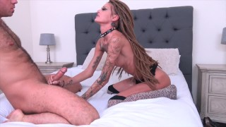 Chad White fucks Kimber Veils rough, cums on her face and pussy Brunette pornstar