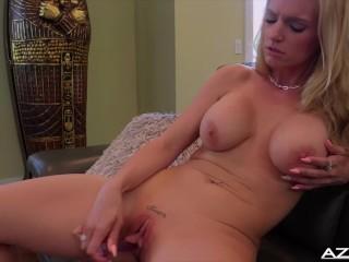 Blonde Milf Rachael Cavalli gets naked ending with orgasm