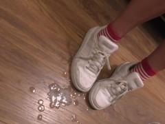 2.5 Huge Loads Of Cum On Her White Sneakers - Cute MILF Cumshot Orgasm