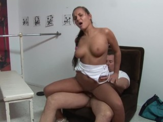 Cute Teen with Perky Tits Gets Fucked in the Gym