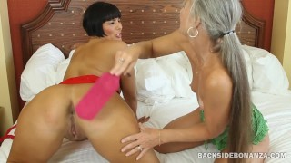BACKSIDE Two MILFs Spank Asses and Lick Assholes Tits shaved