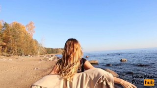 Outdoor Blowjob and Cum in Mouth! - Sweet Teen Doing Blowjob on the Beach. Public amateur