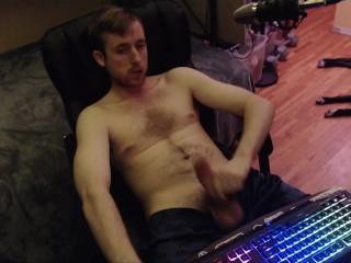 Shirtless canadian dude jerks off (no cum) home made amateur porn hot wank