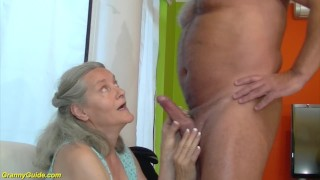 92 years old granny doing deepthroat