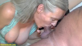 Doing old granny years  deepthroat cowgirl trimmed